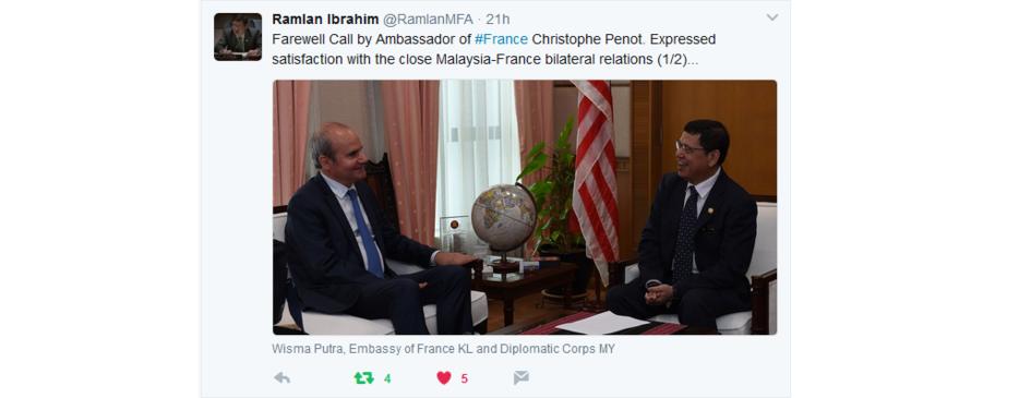Visites d adieux mm seri hishammuddin hussein datuk ramlan la france en malaisie - Chambre de commerce malaisie ...